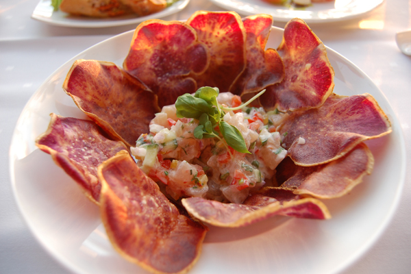 Fresh snapper ceviche with taro chips. Photo: Becca Bergman Bull